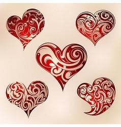 Heart shape set vector image
