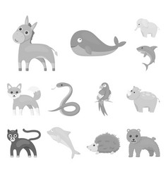 an unrealistic animal monochrome icons in set vector image