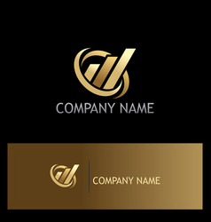 business finance abstract gold company logo vector image