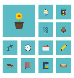 flat icons plant pot armchair trash basket and vector image