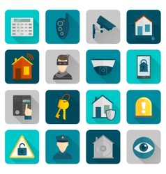 Home Security Icons Flat vector image vector image