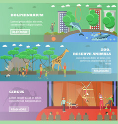 set of dolphinarium circus and zoo flat vector image vector image