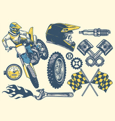 set of motocross objects in retro hand drawing vector image