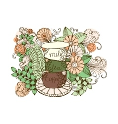 Doodle cup of coffee Cup of tea with milk vector image