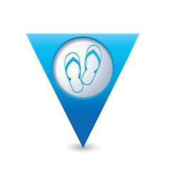flip flops symbol map pointer blue vector image vector image
