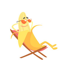 happy banana sitting in a chaise longue and vector image