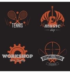 Set of retro labels orange vintage design vector image