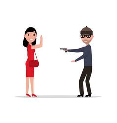 cartoon robber with a gun robbing a woman vector image vector image