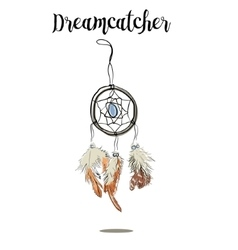 Hand-drawn with ink dreamcatcher with feathers vector image vector image