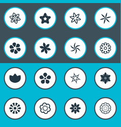 set of simple flower icons elements fuji daisy vector image vector image