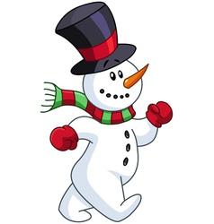 snowman walking vector image vector image