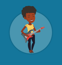 woman playing electric guitar vector image