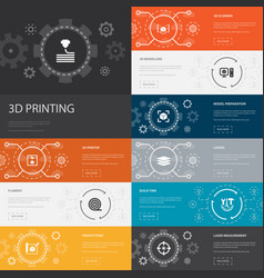3d printing infographic 10 line icons banners 3d vector