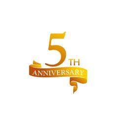 5 year ribbon anniversary vector