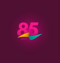 85 years anniversary celebration purple ribbon vector
