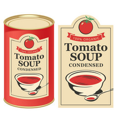a tin can with label tomato soup vector image