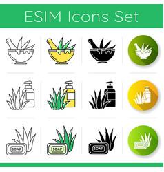 Aloe vera icons set graining leaves aloe vera vector