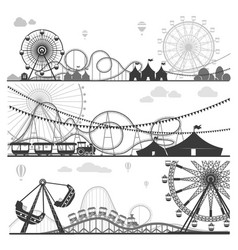 Amusement parks with funny attractions monochrome vector