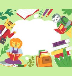 animals read books background cartoon sloth vector image