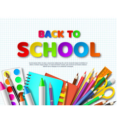 Back to school typography design with realistic vector