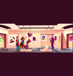 Background art museum with visitors vector