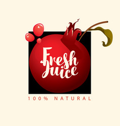 banner for fresh pomegranate juice with fruit vector image
