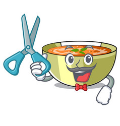 Barber lentil soup in a mascot bowl vector