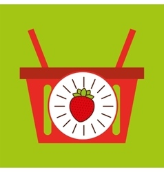 Basket shopping strawberry juicy fruit vector
