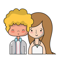 beauty couple married with hairstyle design vector image