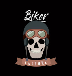 biker culture poster with skull with helmet and vector image