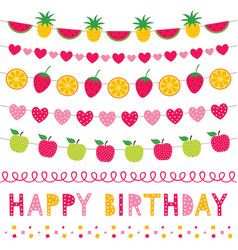 birthday party fruit decoration set vector image