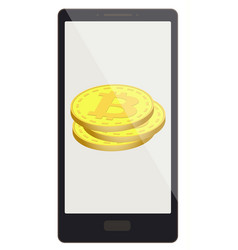 Bitcoin coins on a phone screen vector