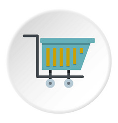 blue shopping trolley icon circle vector image