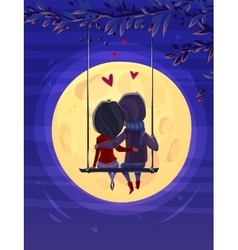 Boy and girl looking at the moon Romantic night vector