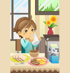 Boy eating breakfast vector