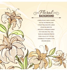 Brown background with blooming lilies vector
