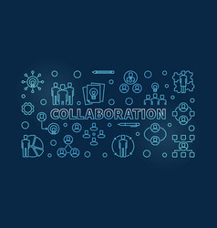 Business collaboration blue line vector