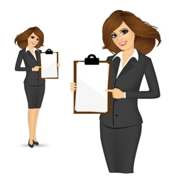 Businesswoman pointing clipboard vector