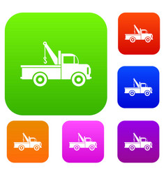 car towing truck set collection vector image