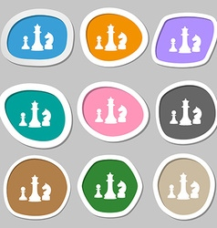 Chess Game symbols Multicolored paper stickers vector