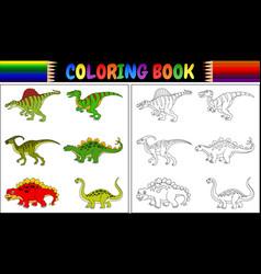 Coloring book with dinosaur cartoon collection vector