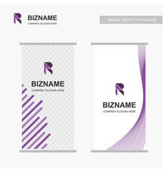 company advertisment banner with r logo and slogan vector image