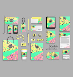 Corporate identity template set with eighties vector