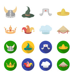 Crown jester cap cook cone hats set collection vector