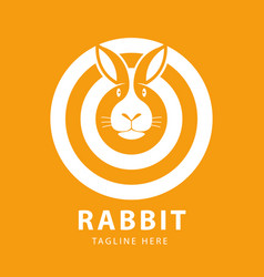 cute rabbit head logo circles design template vector image