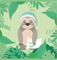 Cute sloth with pijama vector