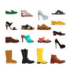 different casual shoes men and women vector image