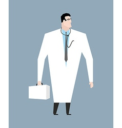 Doctor in white coat Doc with stethoscope Medical vector