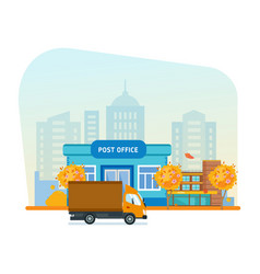 Exterior of post office autumn city street vector