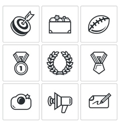 Fame and glory icons set vector